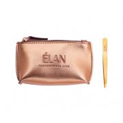 Пинцет ELAN proficiency GOLD с брендированной косметичкой Rose Gold для бровей