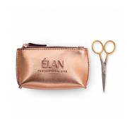 Ножницы профессиональные ELAN GOLD с брендированной косметичкой ELAN Rose Gold  для бровей
