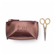 Ножницы профессиональные ELAN GOLD с брендированной косметичкой ELAN Bronze для бровей